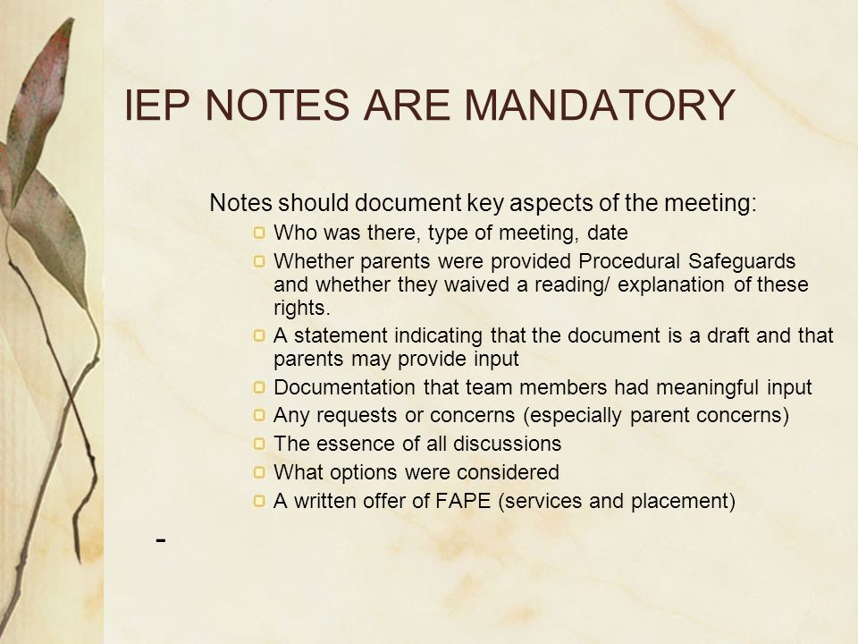 IEP NOTES ARE MANDATORY