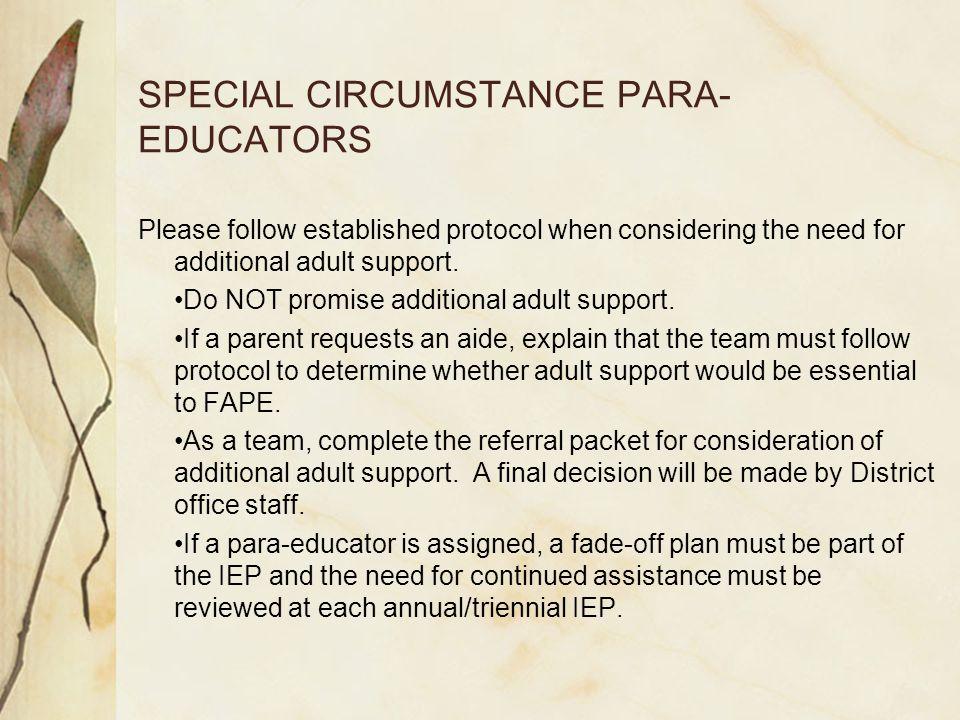 SPECIAL CIRCUMSTANCE PARA-EDUCATORS