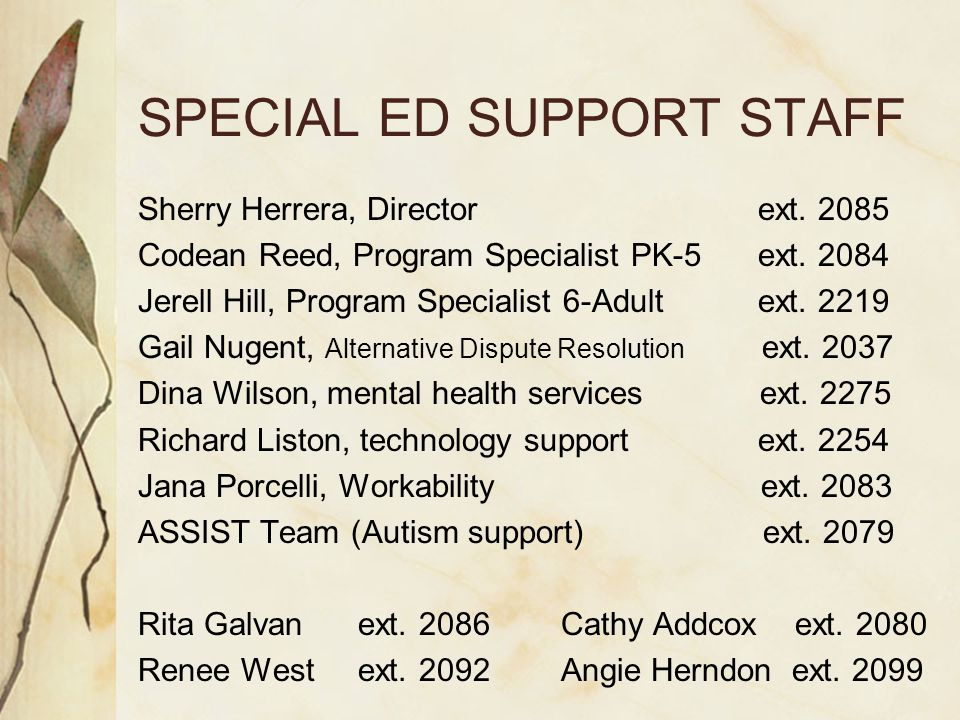 SPECIAL ED SUPPORT STAFF