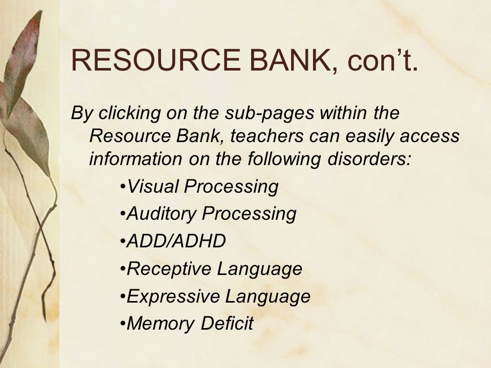 RESOURCE BANK, con't.