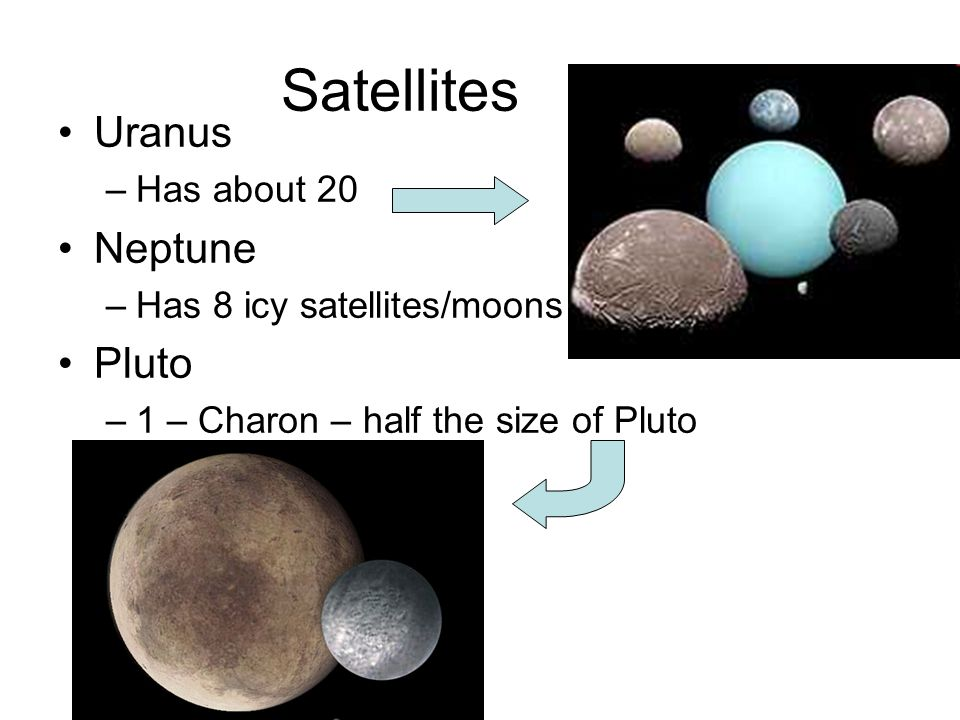 Satellites Uranus Neptune Pluto Has about 20