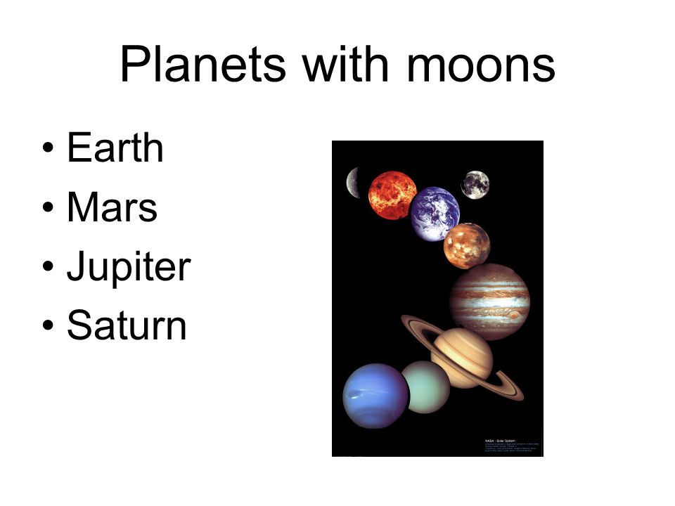 Planets with moons Earth Mars Jupiter Saturn