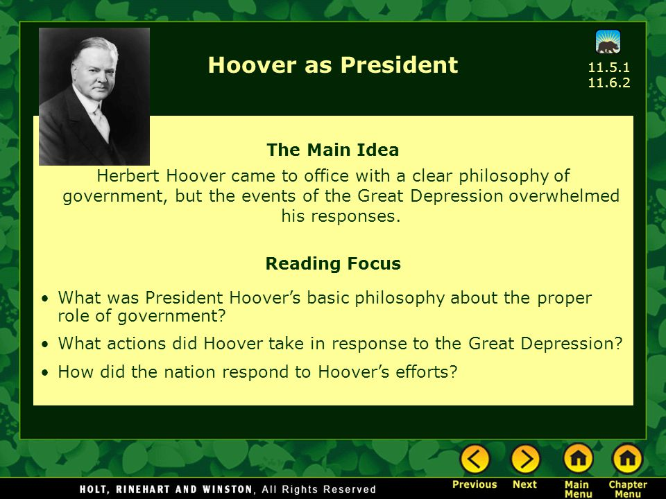 Hoover as President The Main Idea
