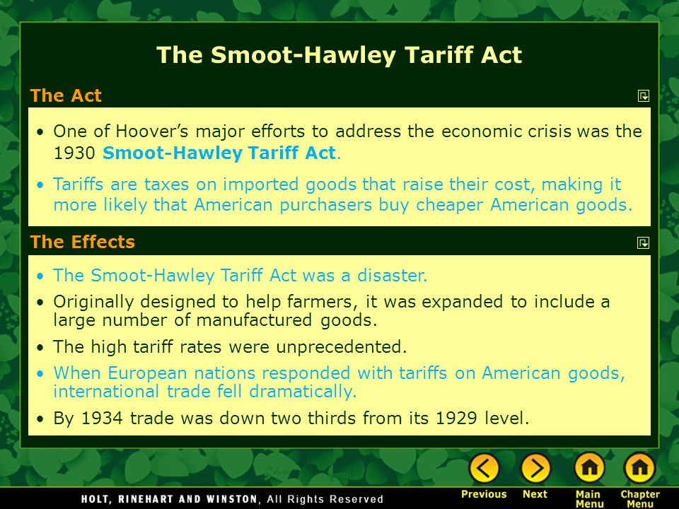 The Smoot-Hawley Tariff Act