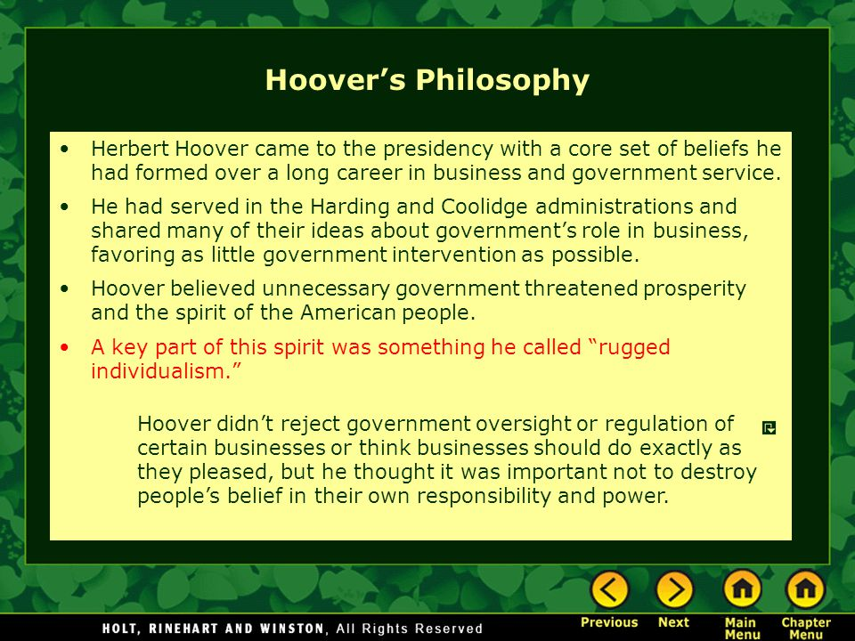 Hoover's Philosophy