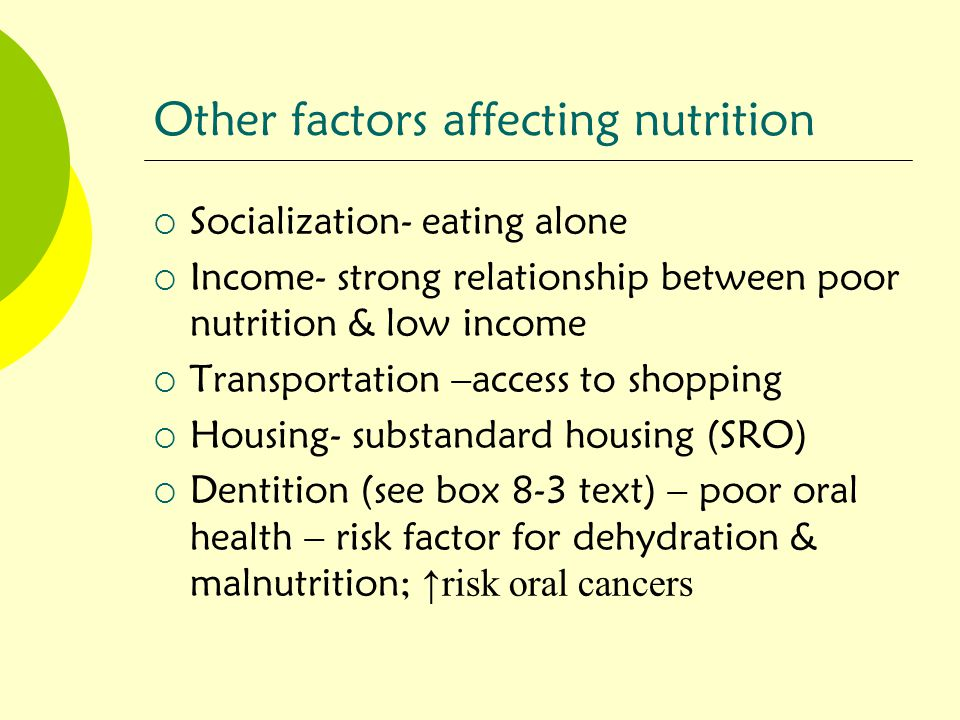 Other factors affecting nutrition