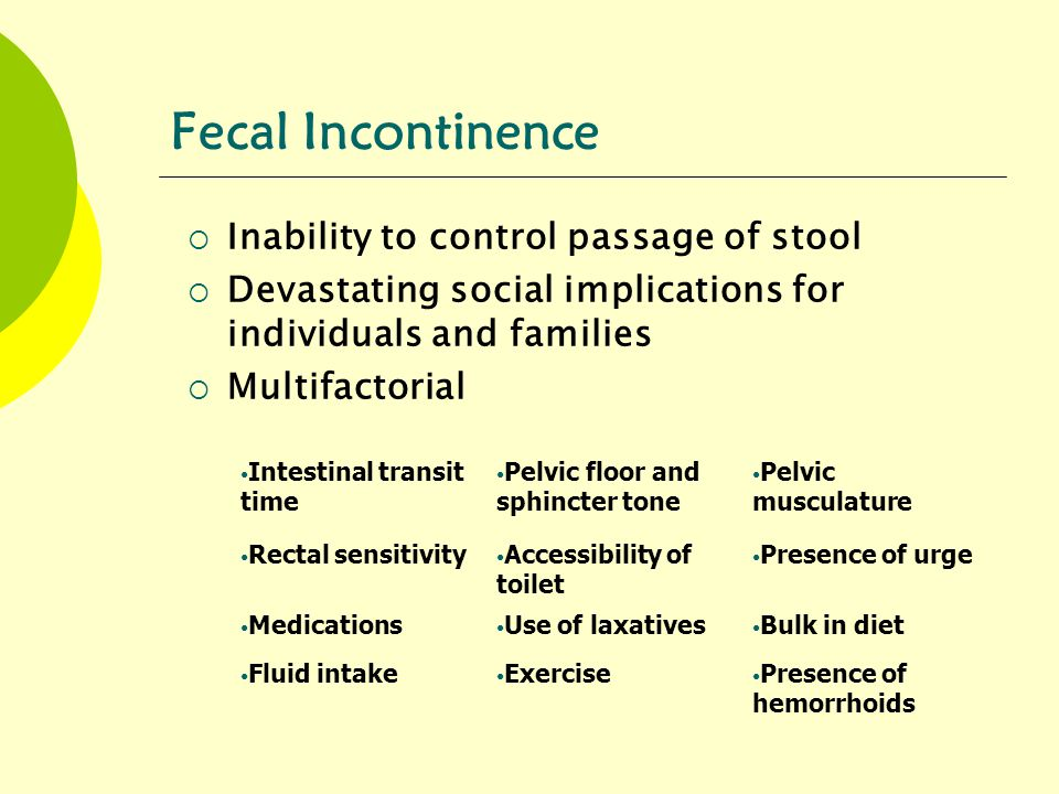 Fecal Incontinence Inability to control passage of stool
