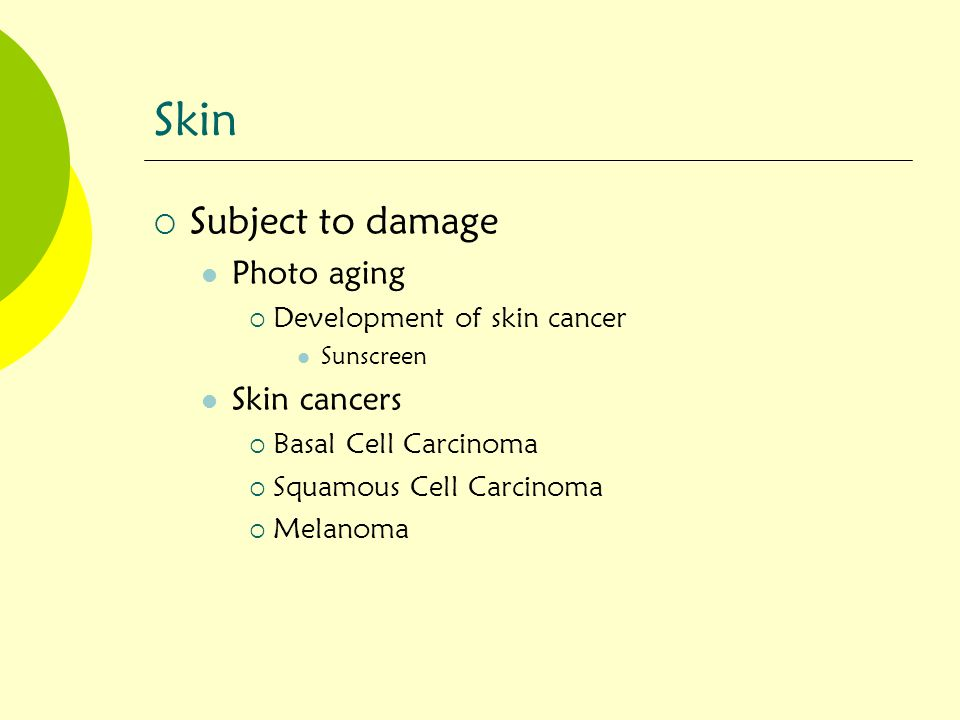 Skin Subject to damage Photo aging Skin cancers