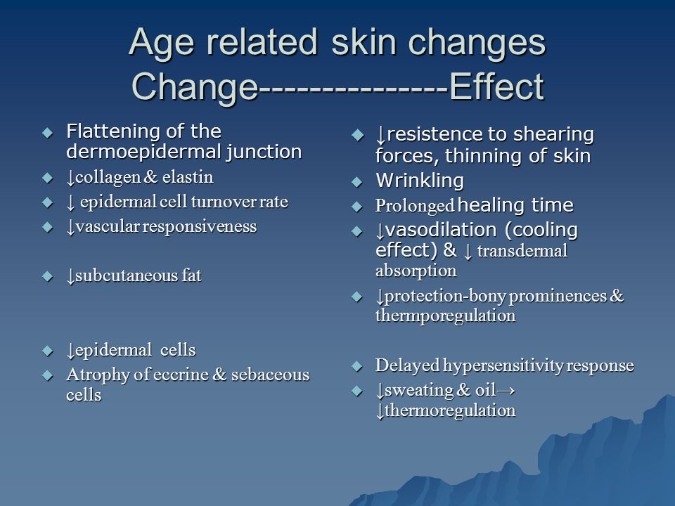 Age related skin changes Change---------------Effect