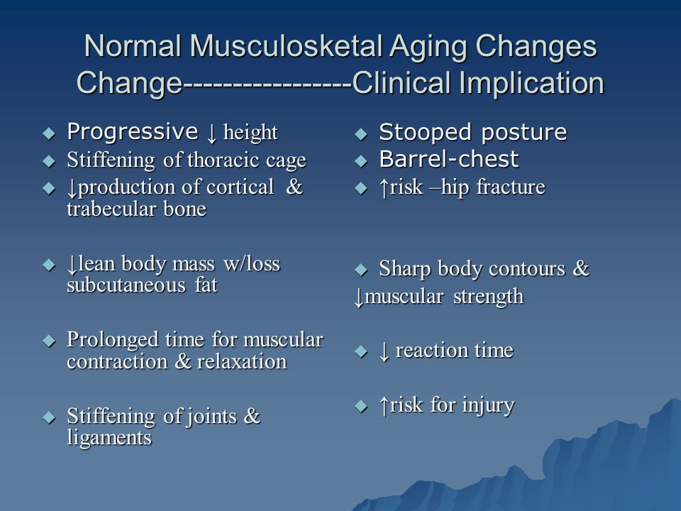 Normal Musculosketal Aging Changes Change-----------------Clinical Implication