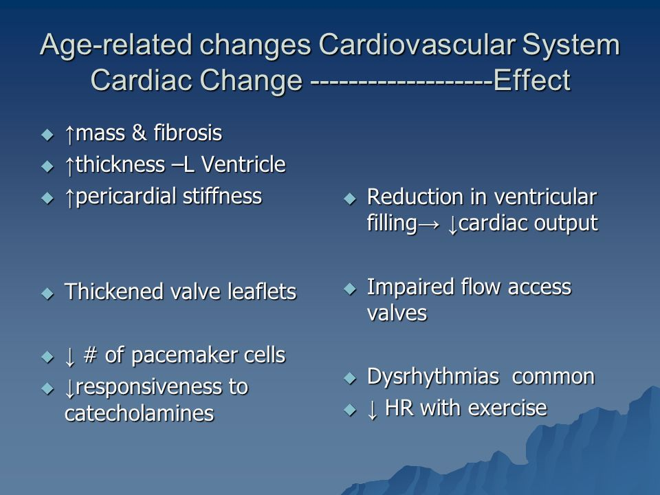 Age-related changes Cardiovascular System Cardiac Change -------------------Effect