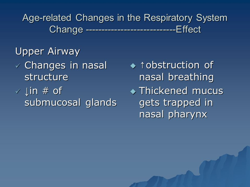 Changes in nasal structure ↓in # of submucosal glands