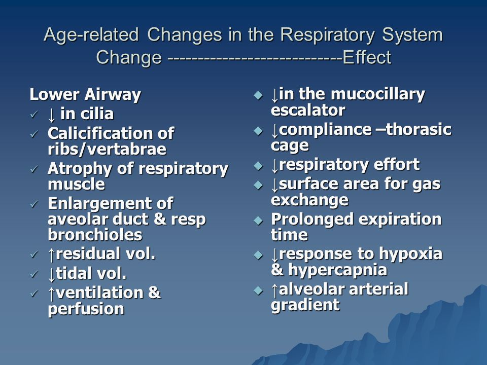 Age-related Changes in the Respiratory System Change ----------------------------Effect