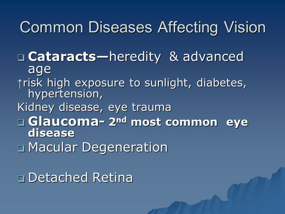 Common Diseases Affecting Vision