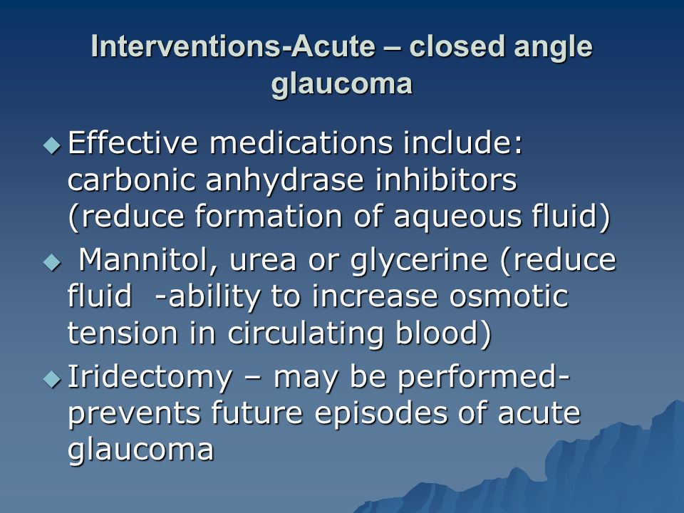 Interventions-Acute – closed angle glaucoma