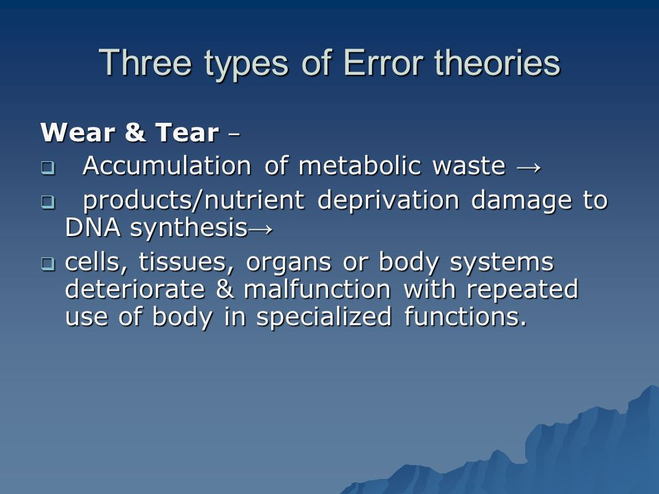 Three types of Error theories