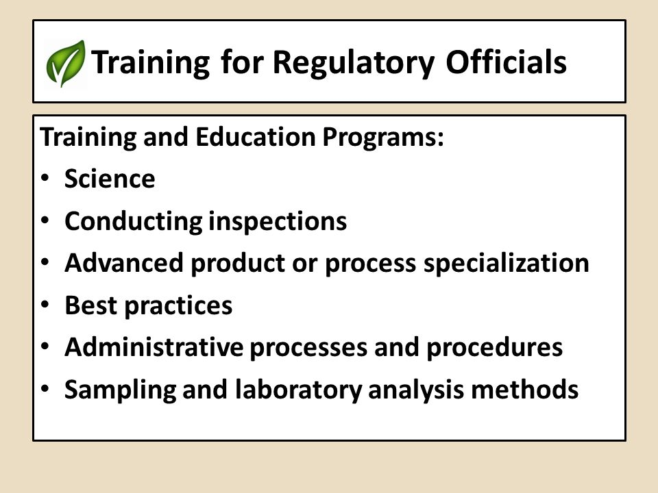 Training for Regulatory Officials