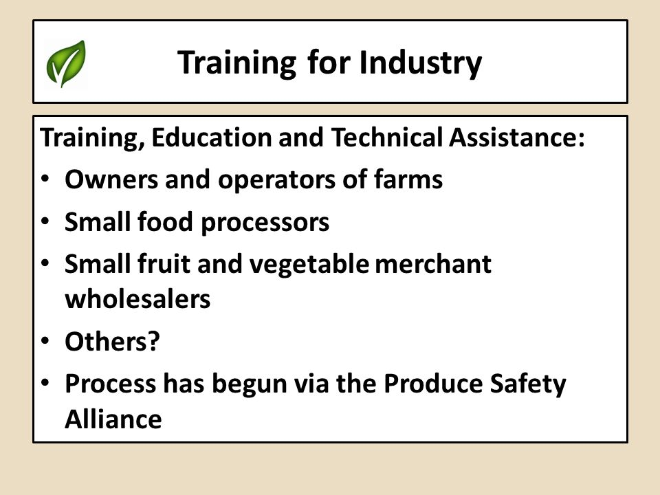 Training for Industry Training, Education and Technical Assistance: