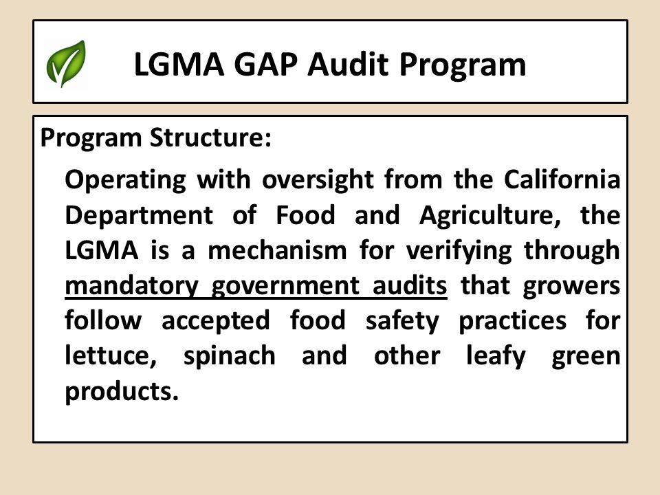 LGMA GAP Audit Program