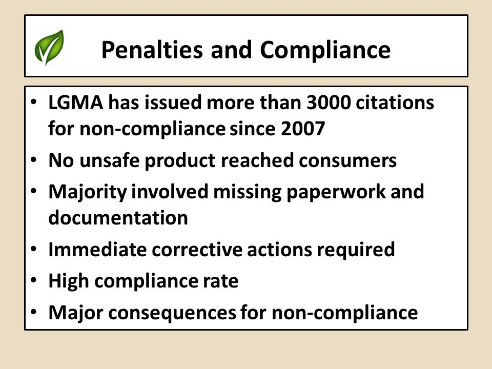 Penalties and Compliance