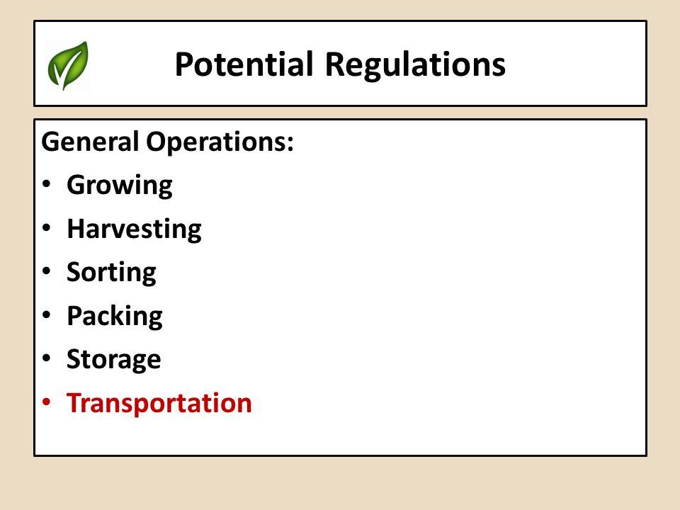 Potential Regulations