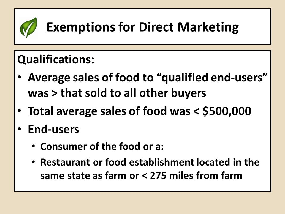Exemptions for Direct Marketing