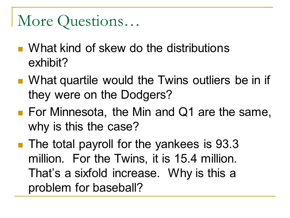 More Questions… What kind of skew do the distributions exhibit