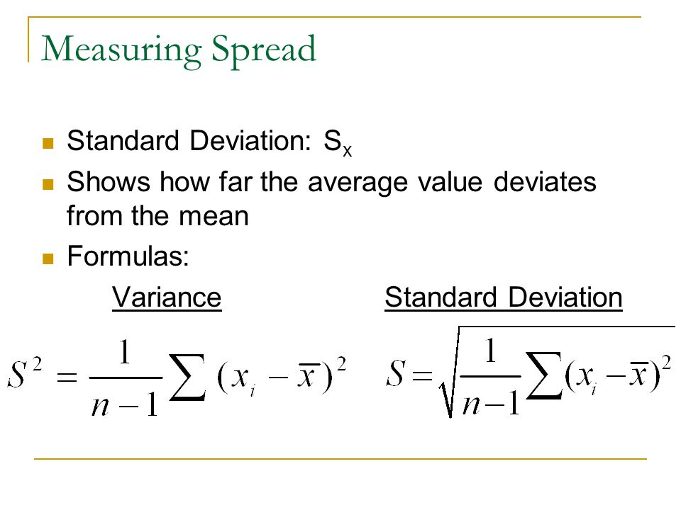 Measuring Spread Standard Deviation: Sx