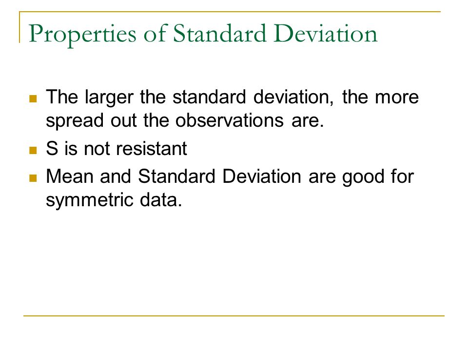 Properties of Standard Deviation