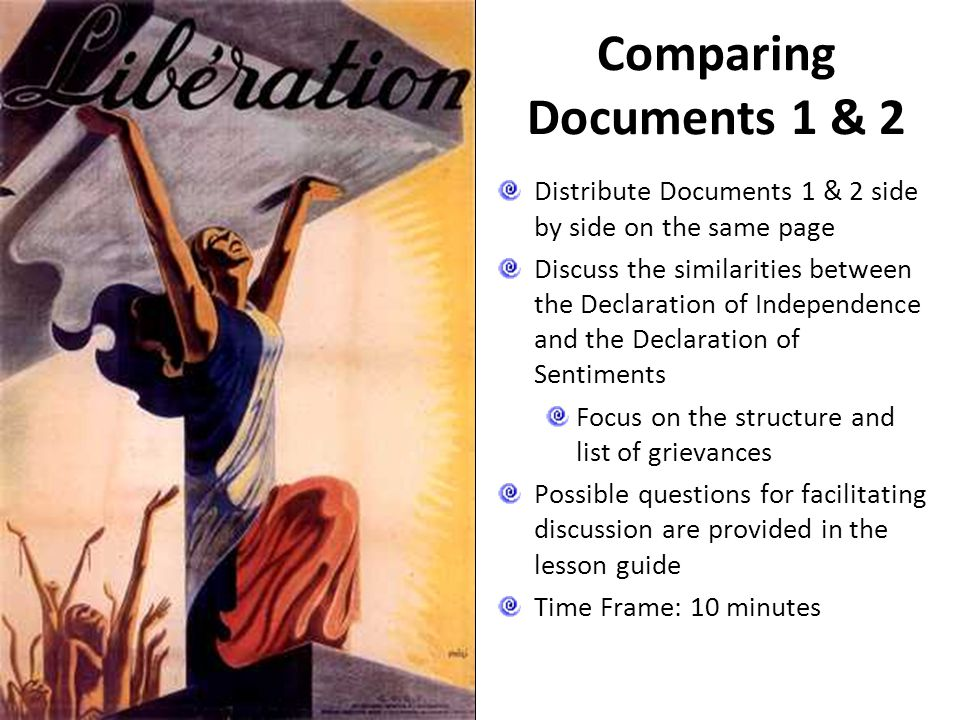 Comparing Documents 1 & 2 Distribute Documents 1 & 2 side by side on the same page.