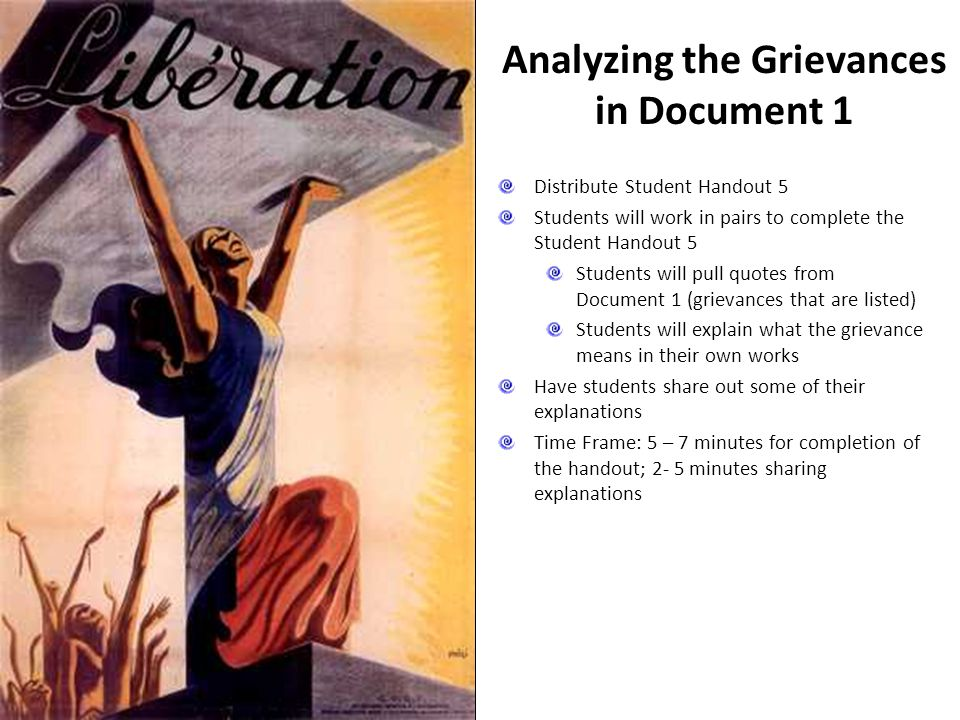 Analyzing the Grievances in Document 1