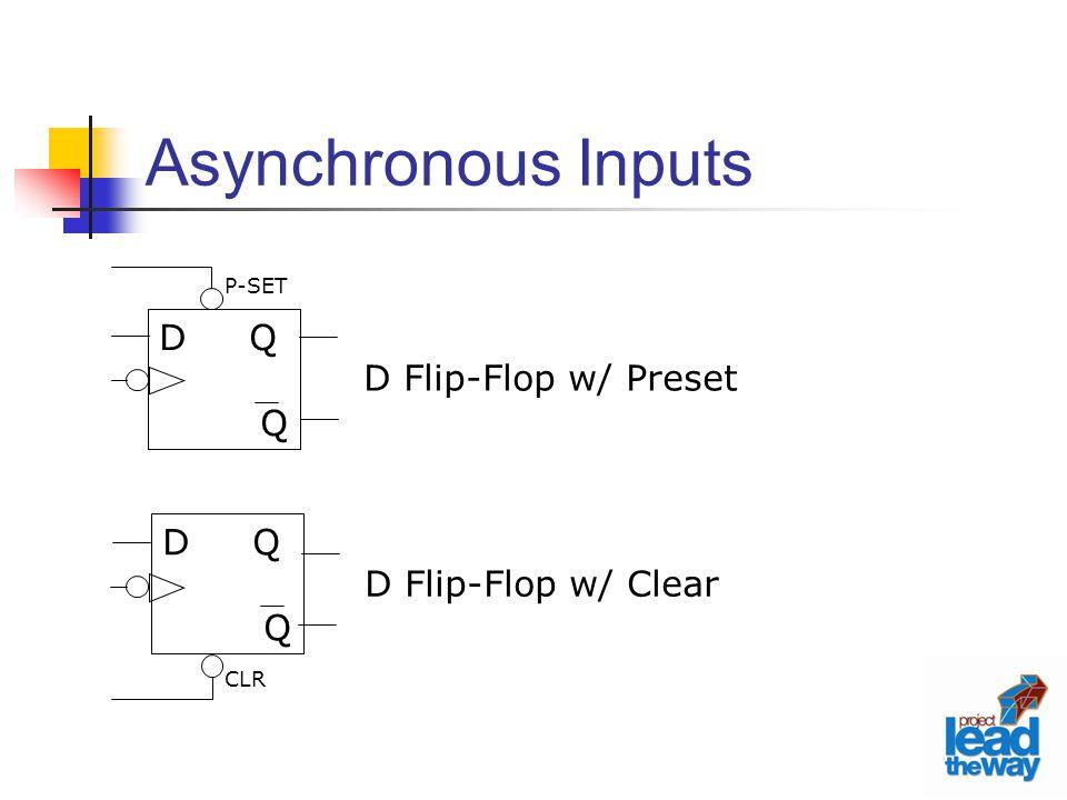 Asynchronous Inputs D Q Q D Flip-Flop w/ Preset D Q Q