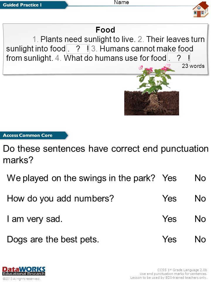 Do these sentences have correct end punctuation marks