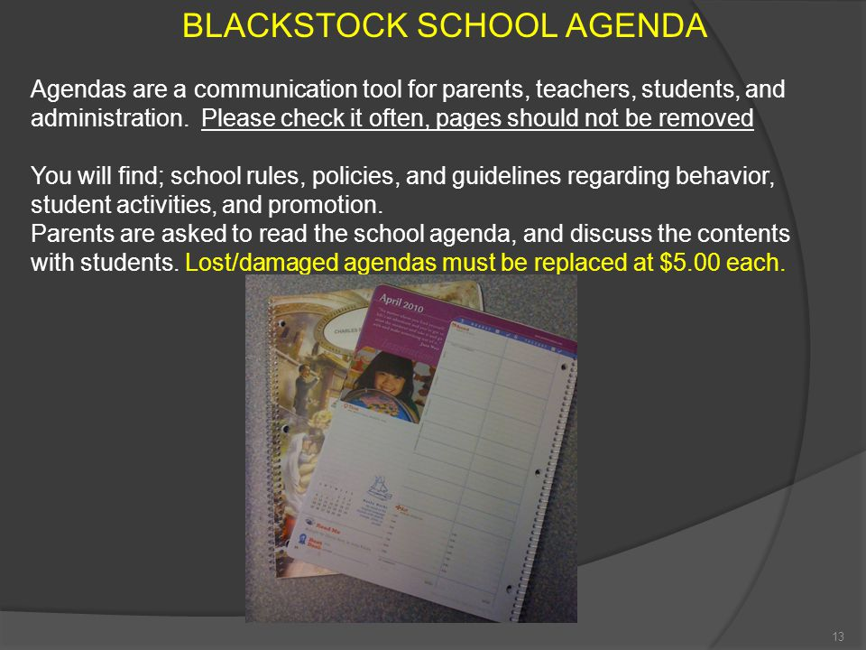 BLACKSTOCK SCHOOL AGENDA