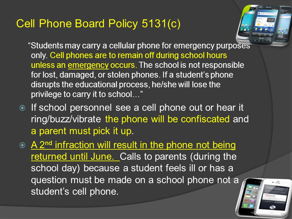 Cell Phone Board Policy 5131(c)
