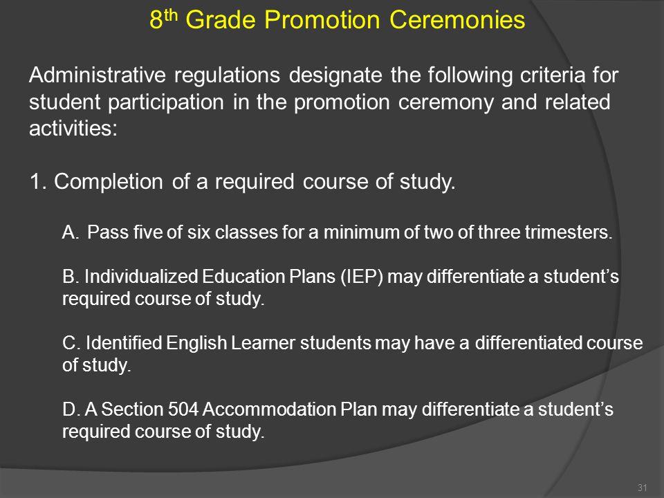 8th Grade Promotion Ceremonies
