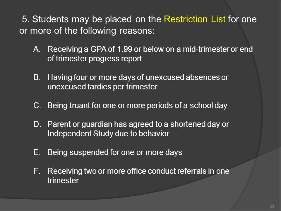 5. Students may be placed on the Restriction List for one or more of the following reasons: