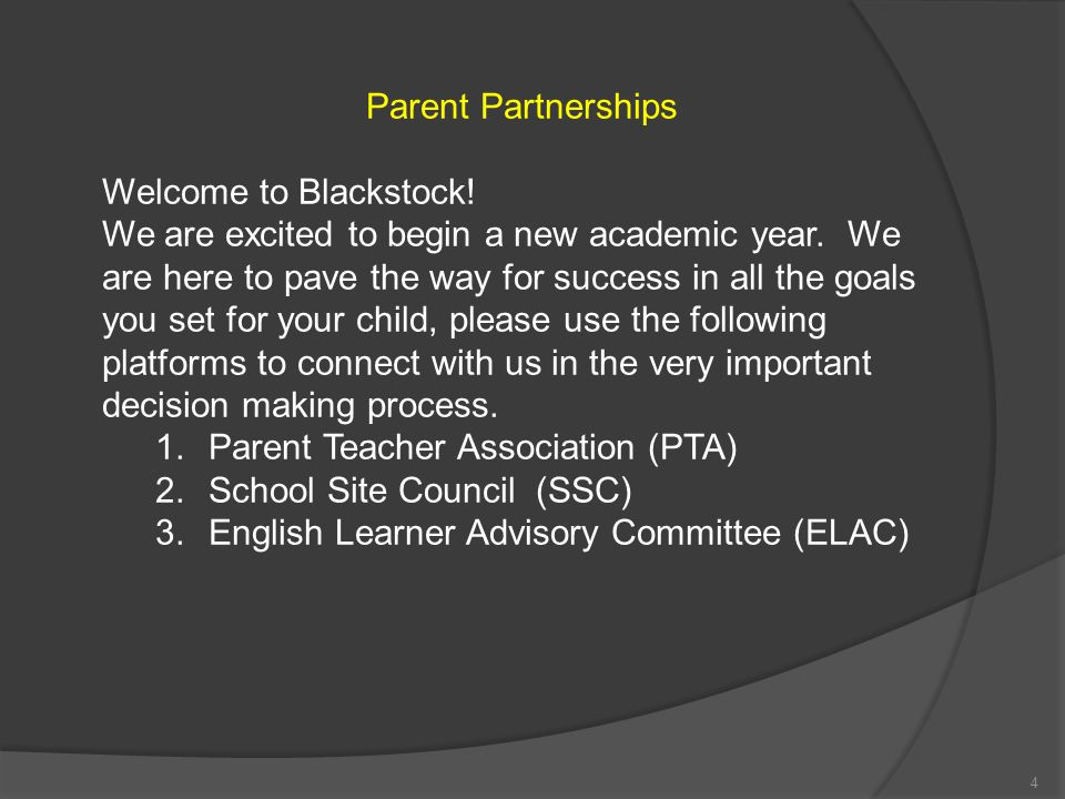 Parent Partnerships Welcome to Blackstock!