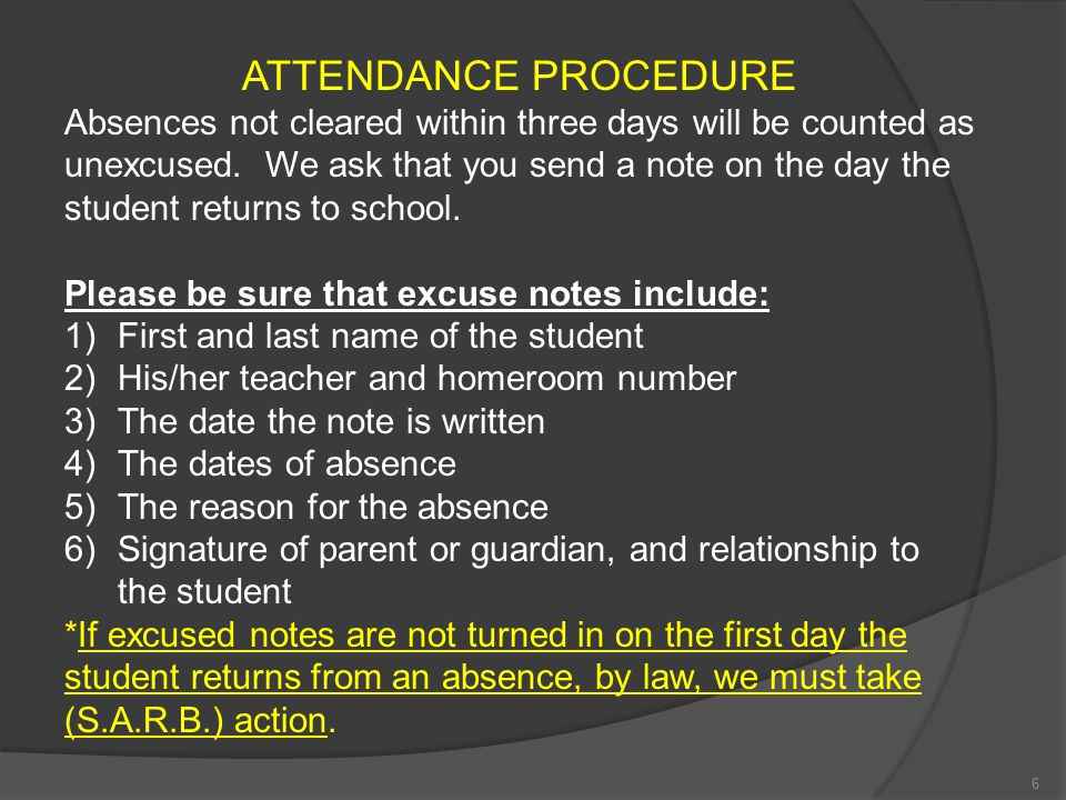ATTENDANCE PROCEDURE