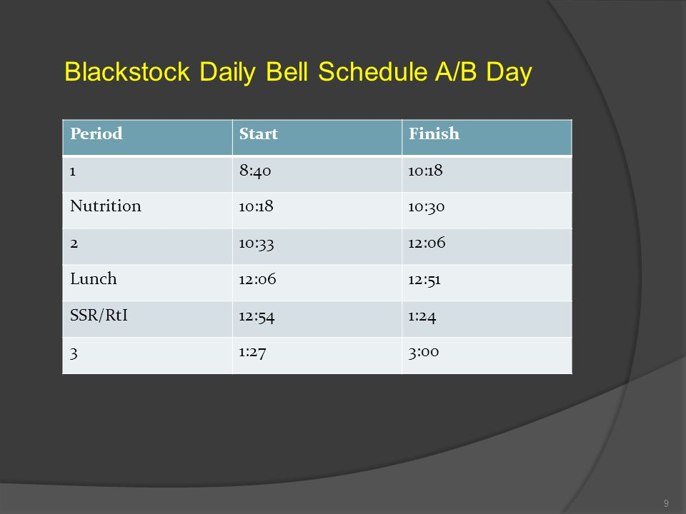 Blackstock Daily Bell Schedule A/B Day
