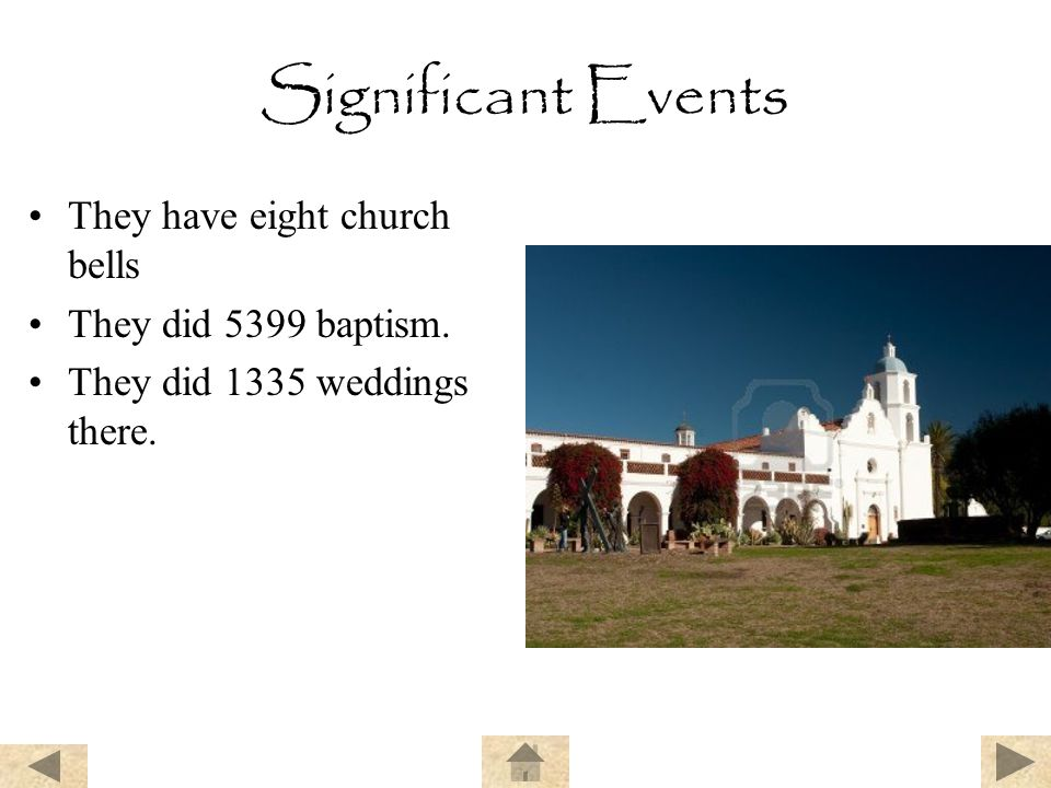 Significant Events They have eight church bells They did 5399 baptism.