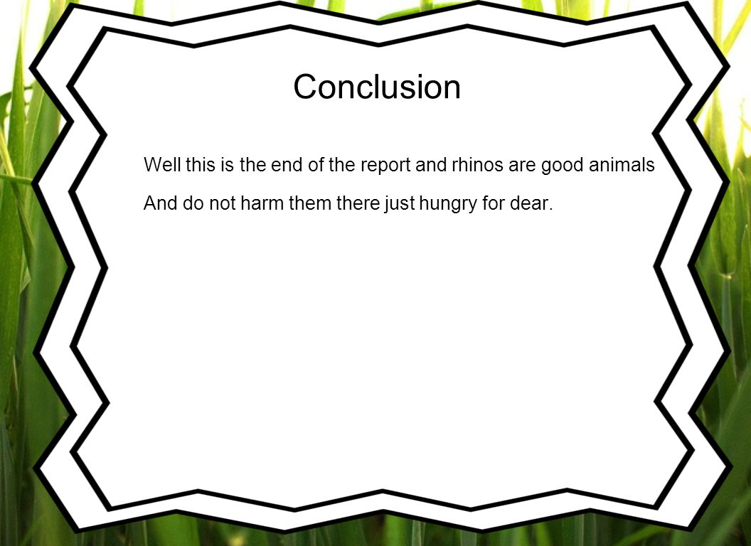 Conclusion Well this is the end of the report and rhinos are good animals.