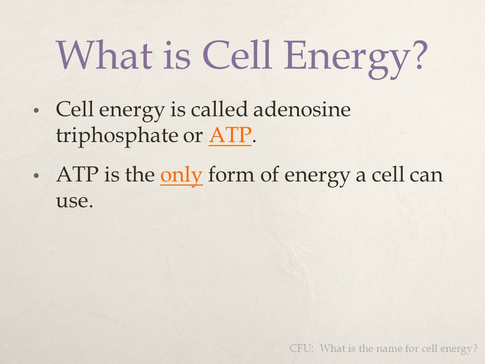 What is Cell Energy Cell energy is called adenosine triphosphate or ATP. ATP is the only form of energy a cell can use.