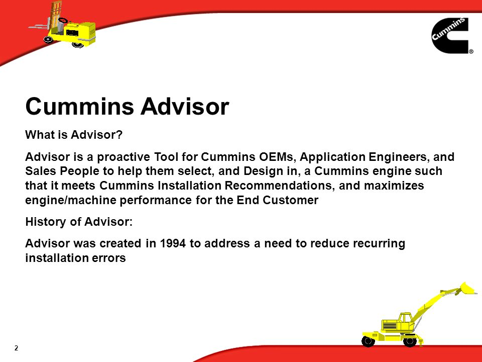 Cummins Advisor What is Advisor