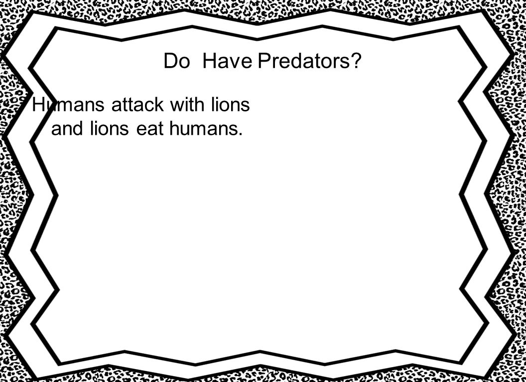 Do Have Predators Humans attack with lions and lions eat humans.