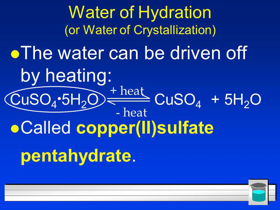 Water of Hydration (or Water of Crystallization)