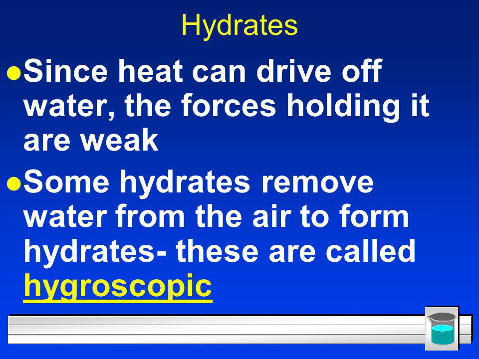 Since heat can drive off water, the forces holding it are weak