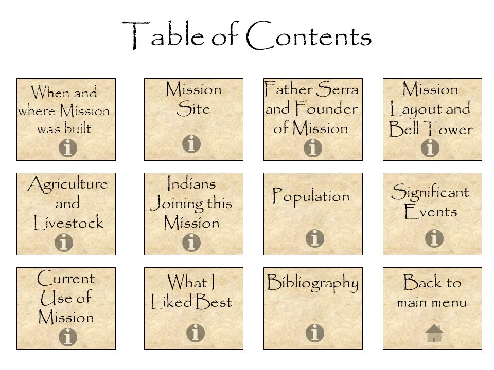Table of Contents Mission Site Father Serra and Founder of Mission