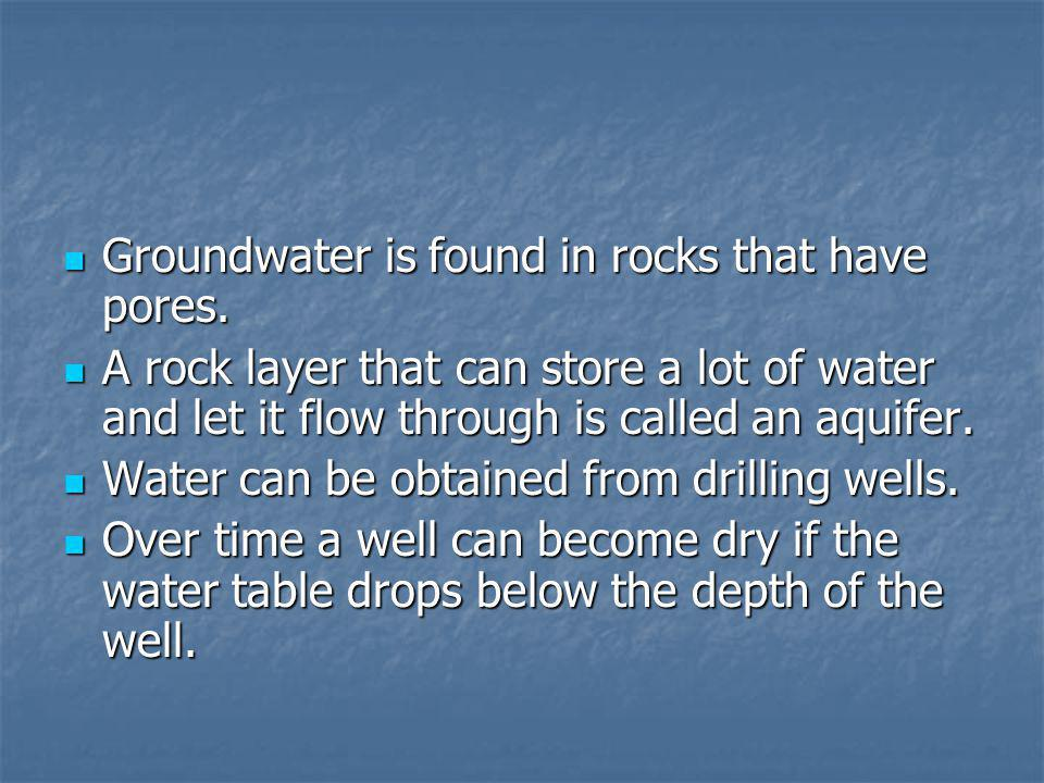 Groundwater is found in rocks that have pores.