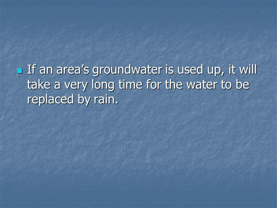 If an area's groundwater is used up, it will take a very long time for the water to be replaced by rain.